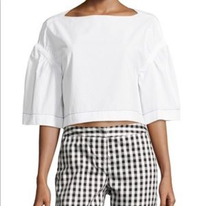 Phillip Lim Ruched Puff Sleeve Cropped Top